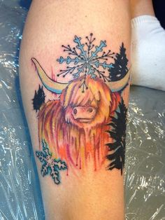 Tattoo Done by Tini Tatu in Central Florida Its a custom tattoo of a scottish highland cattle! To see More of my work Check out www....