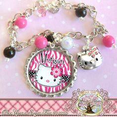 Hello Kitty Personalized Charm Bracelet by onceuponasugartree, $21.50