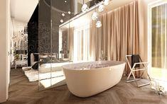 bedroom with open bath
