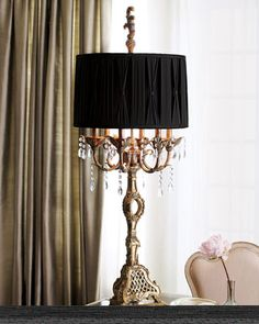 """""""Haven"""" Table Lamp at Neiman Marcus. Magnificent all around, this handcrafted resin lamp has a pleated black silk shade and six arms dressed with crystal beads. Uses six 25-watt bulbs. 18""""Dia. x 47""""T. Imported."""