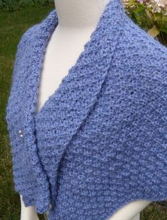 Free Knitting Pattern for Shoulder Shawl - Designed by Terry L. Ross in bulky yarn, this easy shawl features a lapel and a reversible stitch pattern.