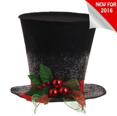 "The Jolly Christmas Shop - Raz 5"" Holly Plaid Black Top Hat Christmas Decoration 3119042, $12.99 (https://www.thejollychristmasshop.com/raz-5-holly-plaid-black-top-hat-christmas-decoration-3119042/)"