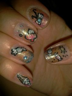 Candy nails and glitter! :3