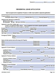 Rental Application Templates  Free Online Rent Application