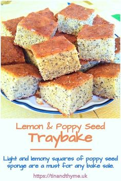 Lemon and Poppy Seed Traybake. Light and lemony squares of poppy seed sponge are a must for any bake sale. These one are made extra special with the addition of ground oats which gives added texture and flavour. Baking Recipes, Cake Recipes, Coffee And Walnut Cake, Decadent Chocolate Cake, Poppy Seed Cake, Peanut Butter Brownies, Bread Bowls, Home Baking, Pie Cake