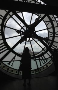 Paris-- train station clock (window) in the Orsay