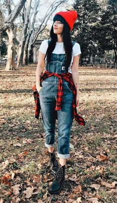 Red beanie with white tee, denim overalls, plaid shirt & Dr Martens booties by jaglever