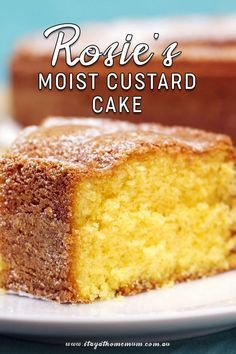 Rosie's Moist Custard Cake is a soft decadent cake that is perfect with some lemon cream cheese icing. It also freezes well and and tastes amazing! Custard Recipes, Baking Recipes, Dessert Recipes, Vanilla Custard Cake Recipe, Custard Cream Cake, Custard Powder Recipes, Custard Cookies, Custard Desserts, Vanilla Cake