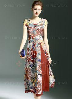 Dresses - $151.56 - Cotton Silk Floral Short Sleeve Mid-Calf Vintage Dresses (1955102013)