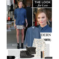 kate bosworth denim shirt and floral skirt, created by esterp on Polyvore