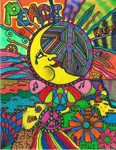 Hippie Art Flower Children Contemporary Electric Peace
