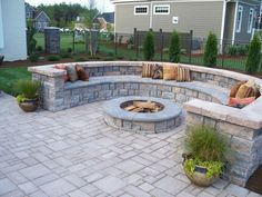 Seating Wall Lighting with Firepit