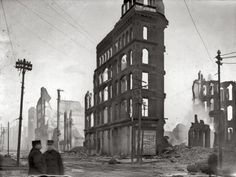 """Great Baltimore Fire of 1904. """"Liberty & Lombard Streets, southwest limit of fire."""" National Photo Company Collection glass negative."""