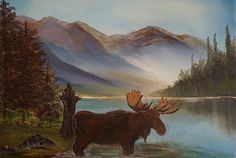The Mountain Moose Painting by Leslie Allen - The Mountain Moose Fine Art Prints and Posters for Sale