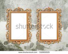 #Stock #photo: #two #blank #orange #Baroque #picture #frames on #gray #concrete #wall #background #shutterstock