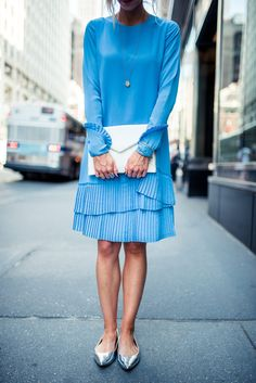 Layered blue pleat dress for NYFW.