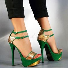 FSJ Beryl Green Double Ankle Strap Sandals Winter Fashion Prom Shoes Women's Green Gold Glitter Stiletto Heels Platfoem Ankle Strap Sandals New Year Holiday Party Outfit New Year Bucket List Elegant Wedding Dresses Shoes Stilettos, Pumps Heels, Stiletto Heels, Gold Heels, Green Heels, Green Sandals, Sparkly Heels, Sandal Heels, Gold Sandals
