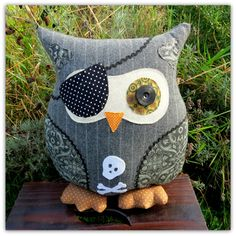 The pinstripe pirate.  Owl cushion.  Owl by TheSherbetPatch, £24.00