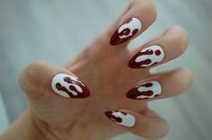 White OR Clear Base Dripping Blood Nails - Set of 20 - Fake nails, false nails, bloody nails, hallow Maroon Nails, Orange Nails, Purple Nails, Green Nails, Nails Turquoise, Holiday Nail Designs, Halloween Nail Designs, Halloween Nail Art, Holiday Nails