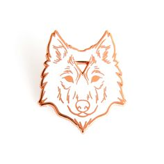 Arcane Wolf Enamel Lapel Pin in White and Rose Gold by goldandmean on Etsy