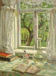 Not sure of artist? Art And Illustration, Painting Inspiration, Art Inspo, Kunst Inspo, Window Art, Beautiful Paintings, Love Art, Painting & Drawing, Amazing Art