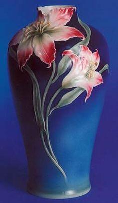 franz porcelain lilies vase click the image for more details. Ceramic Flowers, Clay Flowers, Flower Vases, Bottle Art, Bottle Crafts, Glass Ceramic, Ceramic Art, Pottery Vase, Ceramic Pottery