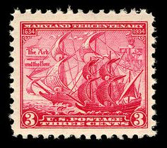 On March 23, 1934, a red 3-cent stamp was issued to commemorate the 300th anniversary of the establishment of the colony of Maryland by Cecil Calvert, Lord Baltimore.