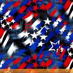 Cotton Quilt Fabric U.S.A. American Flag Collage Patriotic Red White Blue - product images  of