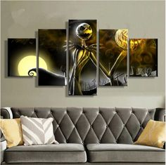 Jack_Skellington_Nightmare Before Christmas 5 Pcs Canvas Wall Hanging Art Print #ebay #Home & Garden