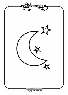 Moon and stars - Easy coloring shapes - letter M week