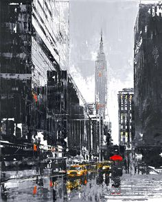 NY Taxi - a framed and signed, limited edition giclee on aluminium by popular cityscape artist Paul Kenton.