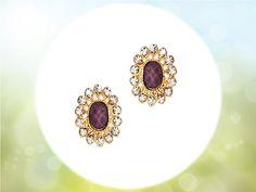 #brownishpurplestud #crystalearrings #fashionaccessories