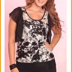 White an black laced blouse with black top Sizes:  10-14 Tops Blouses