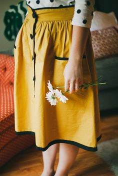 mustard yellow and polka dots