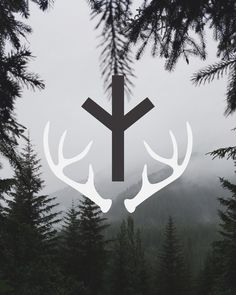 Algiz tattoo, but not antlers Viking Symbols And Meanings, Nordic Symbols, Occult Symbols, Mayan Symbols, Egyptian Symbols, Celtic Symbols, Ancient Symbols, Norse Runes, Elder Futhark Runes