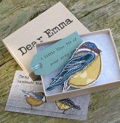 nice fabrics used to make this bird - - - Blue Tit by Dear Emma