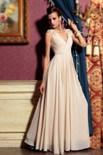 Modest Ivory Sleeveless Empire V-neck Flower Floor Length Homecoming Formal Dress