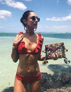 Sexy Flounce Red Frill Bikini Set