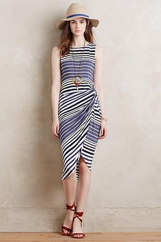 Gathered Stripes Midi Dress - love this silhouette for your with your tan wedges and long necklaces