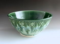 Large Serving Bowl Hand Made Pottery Leaf by ClayGardenPottery, $85.00