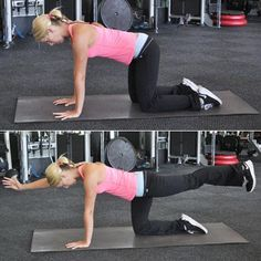 """The opposite arm and leg extension (aka """"bird dog""""): Target your core to relieve pressure in your lower back"""