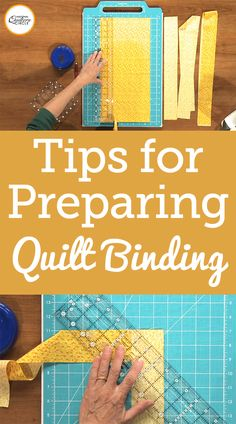 Get tips on how to prepare a quilt binding. Tips that will help make this step in the quilting process less tricky. Quilting For Beginners, Quilting Tips, Quilting Tutorials, Machine Quilting, Quilting Projects, Quilting Designs, Sewing Projects, Sewing Tips, Sewing Ideas
