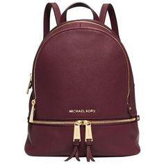 Pre-owned Michael Kors Rhea Zip Small (ship Via Priority Mail)... found on Polyvore featuring bags, backpacks, accessories, merlot, leather rucksack, leather tote, zipper tote, leather tote bags and michael kors backpack