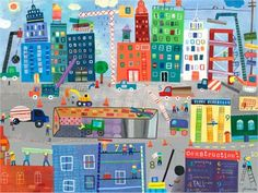 Dress up a bare wall with the Construction Zone Canvas Wall Art from Oopsy Daisy.  Canvas wall art is perfect for adding color and style to bedrooms, playrooms, nurseries and even bathrooms!