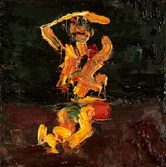 Frank Auerbach - Seated Figure with Arms Raised, 1973
