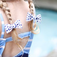 Blueberry Pigtail Bows