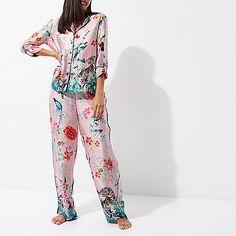Pink jungle print satin trousers
