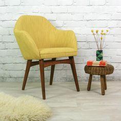 Mid Century Vintage Mustard Club Cocktail Chair