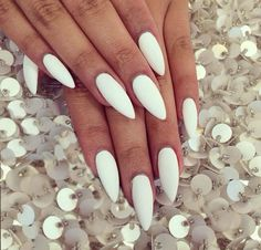 Perfect long white matte stiletto nails
