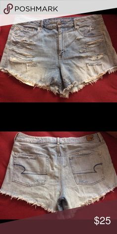 High waisted denim fringe jean shorts! Only worn once! Cute high waisted denim shorts with fringes on the end. Just in time for summer!! American Eagle Outfitters Shorts Jean Shorts